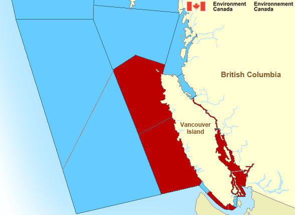 Map of Pacific North Coast Canada Marine Weather Areas
