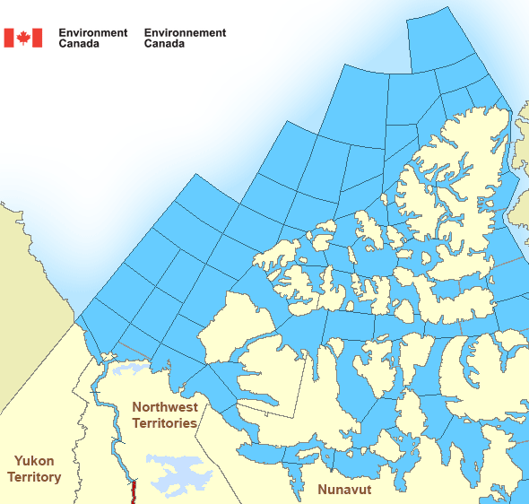 Map of Arctic - Western Arctic marine weather areas