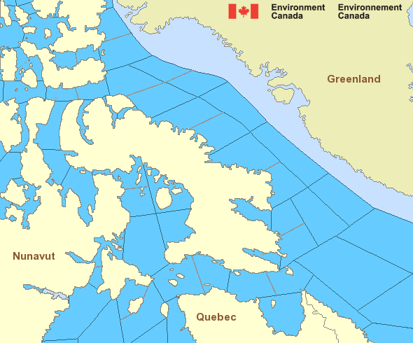 Map of Arctic - Eastern Arctic marine weather areas