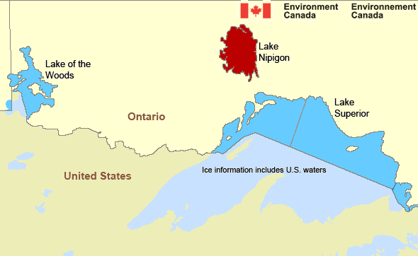 Map of Great Lakes - Lake Superior marine weather areas