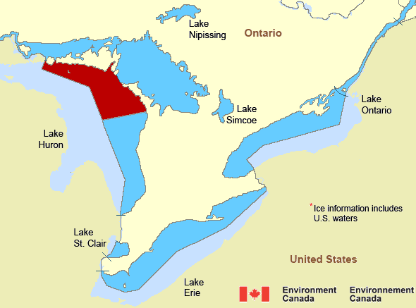 Map of Great Lakes - Lake Huron marine weather areas