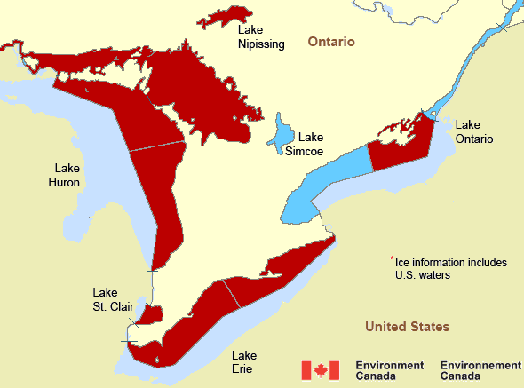 Map of Great Lakes - Lake Erie and Lake Ontario marine weather areas