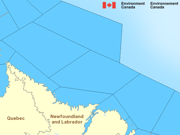 Map of Atlantic - Labrador marine weather areas