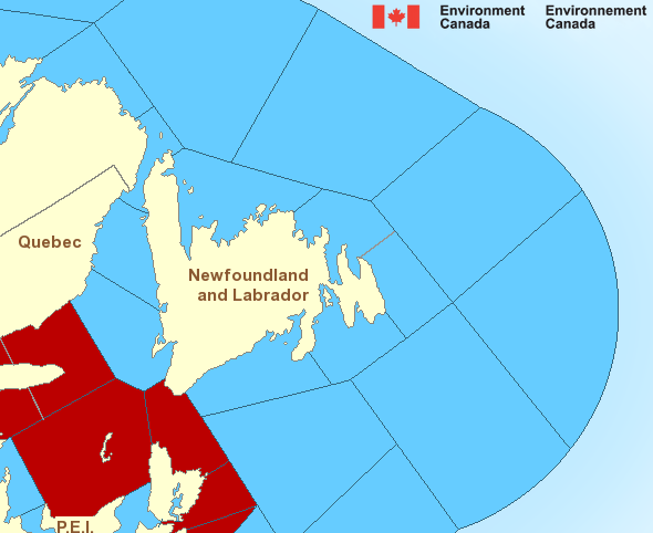 Map of Atlantic - Newfoundland marine weather areas