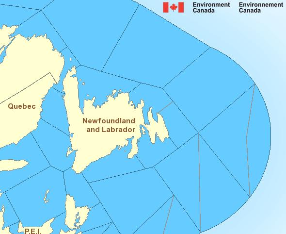 Map of Atlantic - Newfoundland marine weather areas