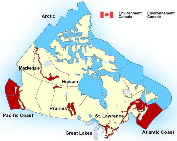Map of Canadian marine weather areas