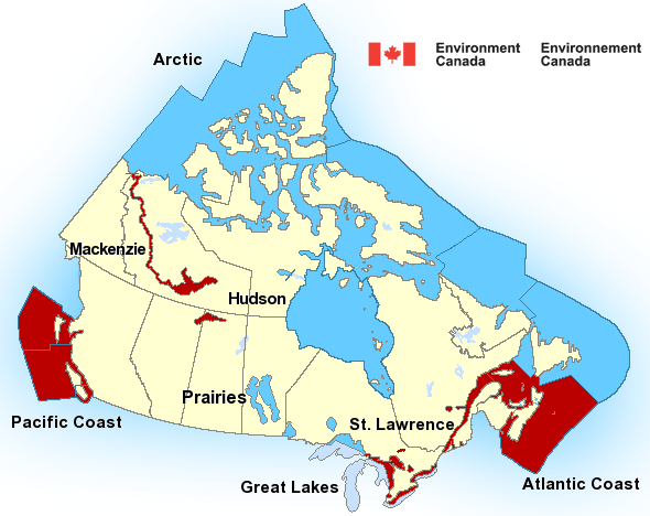 Map of Mackenzie - Mackenzie River marine weather areas
