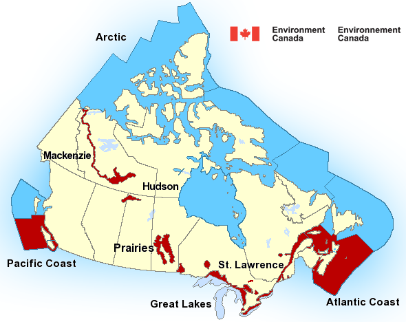Map of Pacific - North Coast marine weather areas