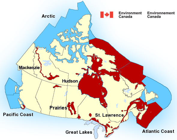 Map of St. Lawrence - St. Lawrence River marine weather areas