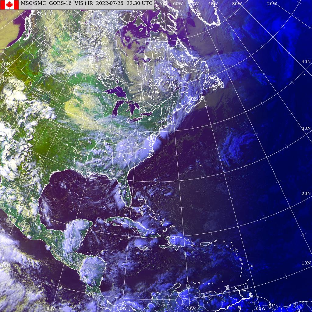 GOES East - Amèrica del Nord - infraroja - visible