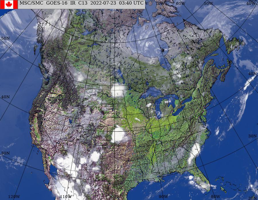 GOES–East/West North American Composite Satellite Image (infrared and topography)