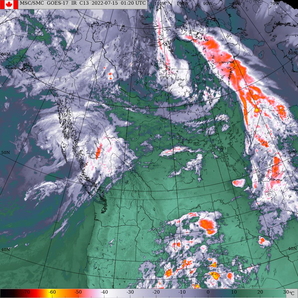 Latest Western NA Infrared Satellite Photo