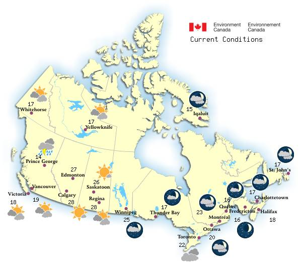 Map Of Canada British Columbia.Canadian Weather Environment Canada