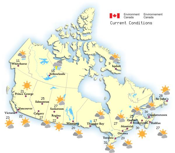 Map Of Canada Yellowknife.Canadian Weather Environment Canada