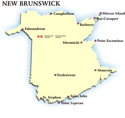 Map Of Canada New Brunswick.New Brunswick Weather Conditions And Forecast By Locations