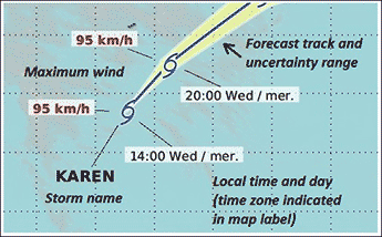 An example showing a Hurricane icon with four parameters; maximum wind 95 Kilometers per hour; local time and day 20:00 Wed/mer.; the storm name Karen; and forecast track and uncertainty range.